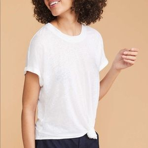 Lou & Grey White Knotted Linen Tee Size Small